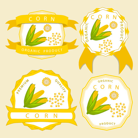 Vector illustration logo whole ripe vegetable yellow corn, green stem leaf maize, cut sliced ??cob.