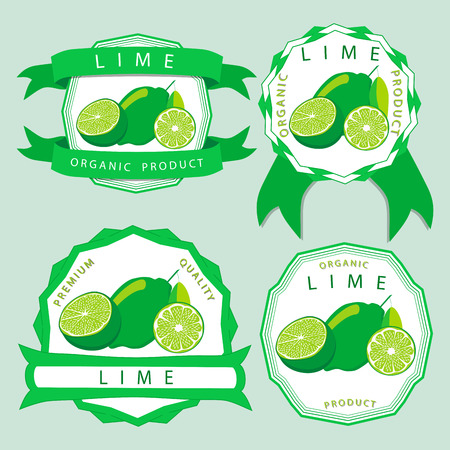 Abstract vector illustration of a yellow lime, with green stem leaf, cut sliced.