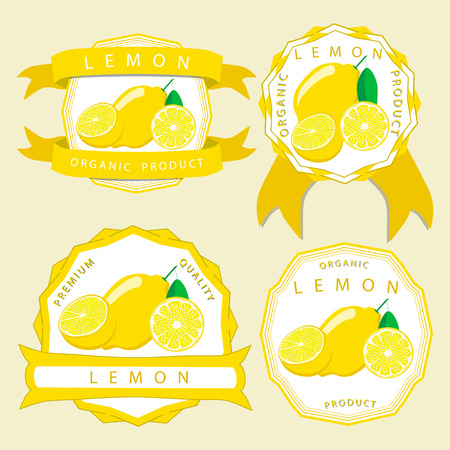 Abstract vector illustration logo for whole ripe citrus fruit yellow lemon with green stem leaf cut sliced.