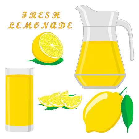 A vector illustration logo for yellow jug liquid lemonade lemon background.