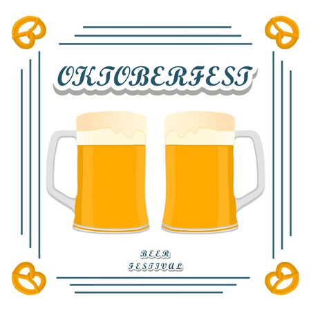 beers: Vector logo for bar banner oktoberfest pub during the festival beer mug glass with foam filled to the brim octoberfest pubs.
