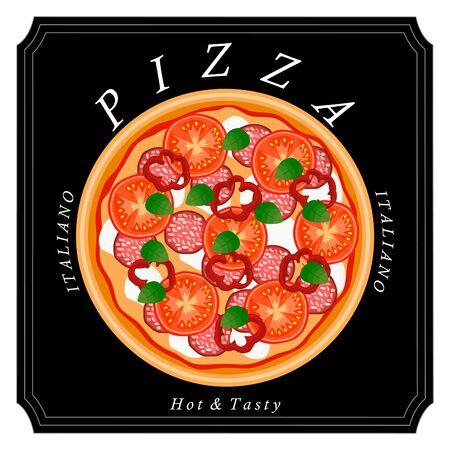 Vector logo illustration for pizzeria menu, sliced ??triangle, whole hot pizza.