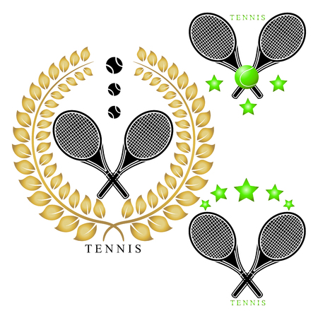 Abstract vector illustration logo game tennis, flying green ball, racket closeup on background.