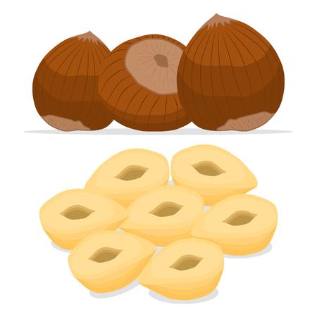 抽象的なベクトル イラスト ロゴ丸ごと完熟茶色ナット、スライス カット?製品ナットの背景。