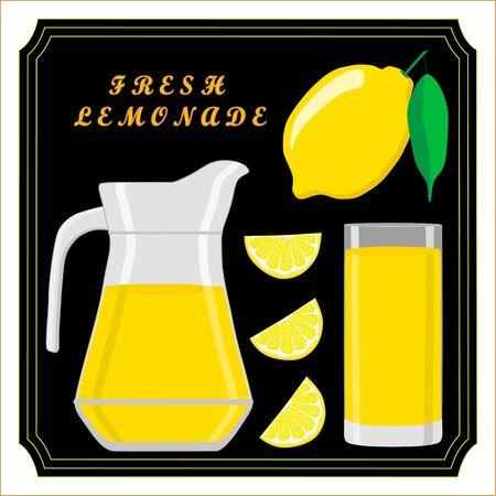 Vector illustration of a yellow jug, liquid lemonade, lemon background.