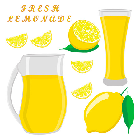 Vector illustration of a yellow jug, liquid lemonade, lemon background.