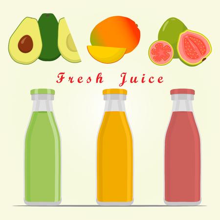 guayaba: Ilustración vectorial abstracta logo para establecer frutas exóticas.