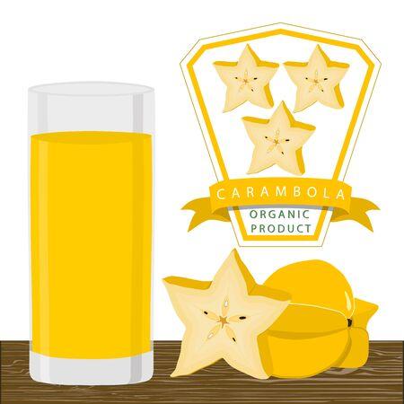 Abstract vector illustration logo whole ripe fruit yellow carambola, cut half sliced.