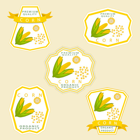 Abstract vector illustration logo whole ripe vegetable yellow corn. Illustration