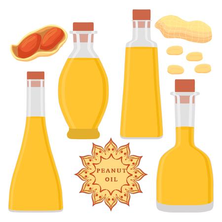 Abstract illustration of logo glass bottles oil, plastic bottle with cap, oils in jars. Çizim