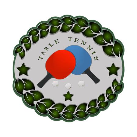 抽象的なベクトル イラスト ロゴ ゲーム卓球、フライングの白いボール、背景にラケットのクローズ アップ。