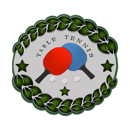 추상적 인 벡터 일러스트 레이 션 로고 게임 테이블 테니스, 비행 흰색 공, 라켓 근접 촬영 배경. 일러스트