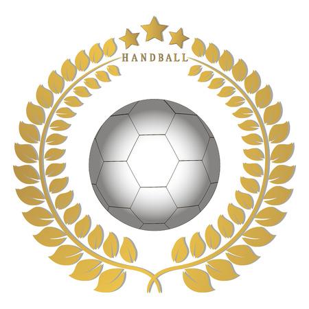 Abstract vector illustration logo handball, flying ball emblem, background. Illustration