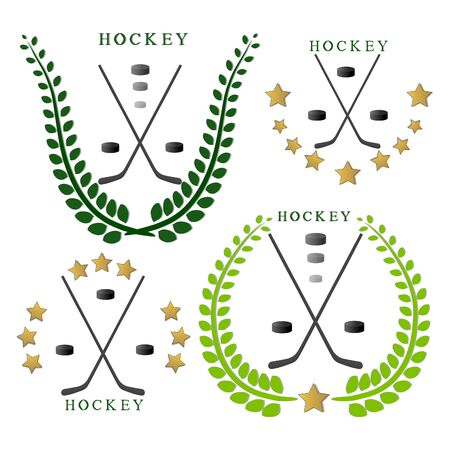 Abstract vector illustration logo hockey, flying black puck, stick closeup on background.
