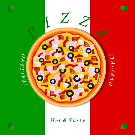 Vector logo illustration pizzeria menu, sliced ??triangle, whole hot pizza slice.