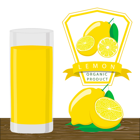Vector illustration of a yellow lemon.