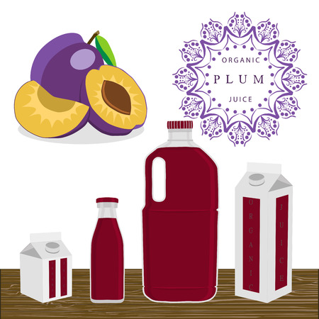 colored bottle: Abstract vector illustration logo for whole ripe fruit purple plum.
