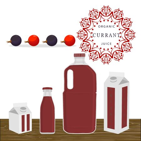 Vector illustration of logo whole ripe berry red currant.