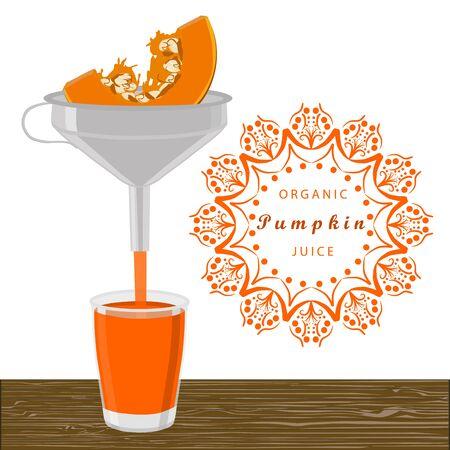 Abstract vector illustration logo whole ripe vegetable yellow pumpkin.