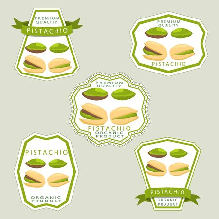 Abstract vector illustration logo whole ripe green pistachio nut.