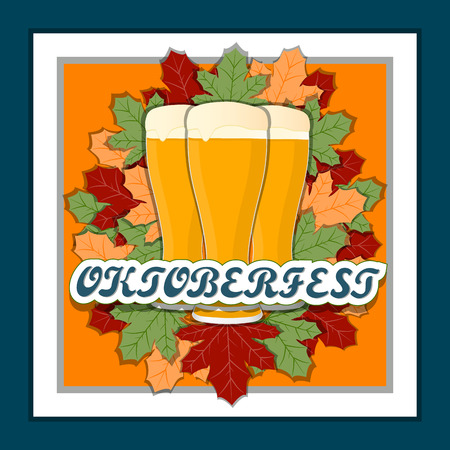 lederhosen: Vector logo for a bar banner oktoberfest pub during the festival beer mug glass.