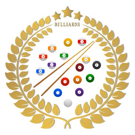 Abstracte vectorillustratie logo spel biljart, vliegende gekleurde ballen, snooker cue.