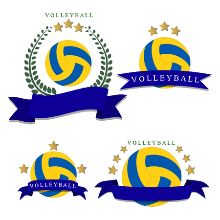 Abstract vector logo volleyball ball, flying in sky.