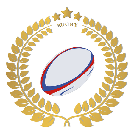 Abstract vector logo rugby ball, flying in sky.