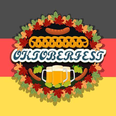 german sausage: Abstract vector logo for bar banner Oktoberfest.