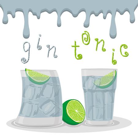 Abstract vector illustration for alcoholic cocktails Ilustração