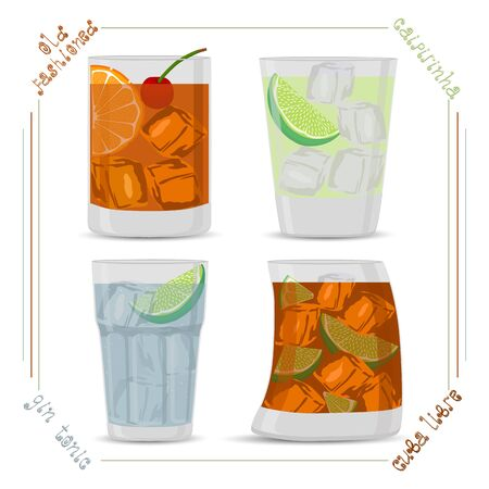 The Vector for set colorful alcohol cocktails