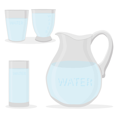 Illustration of water in glass set
