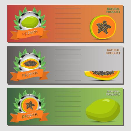 Illustration of whole ripe fruit papaya