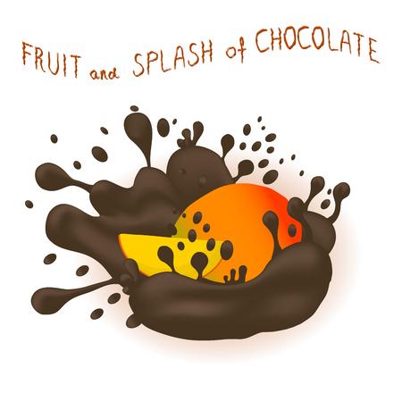 Vector icon illustration logo for ripe exotic fruit colorful mango
