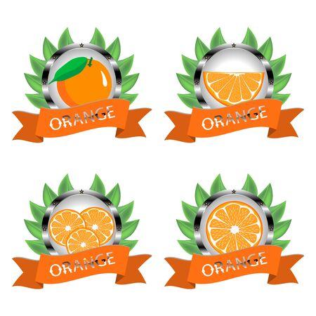 Abstract vector icon illustration logo whole ripe citrus fruit orange, slice half. Orange pattern consisting of card label, natural design tropical food. Eat sweet fresh citrus fruits exotic oranges.