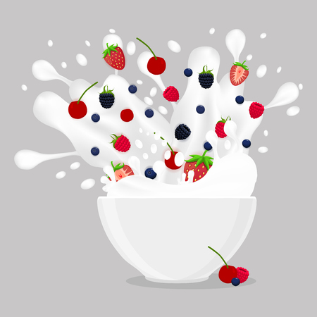 Abstract vector icon illustration logo for berries in bowl, splash of drop white milk. Milk pattern consisting of bowls is filled with berry strawberry, cherry, raspberry. Eat milky breakfast in Bowl. Illustration