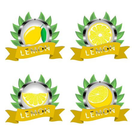 Abstract vector icon illustration logo for whole ripe citrus fruit yellow lemon, slice half. Lemon pattern consisting of card label, natural design citruses food. Eat sweet fresh fruits Citrus lemons.