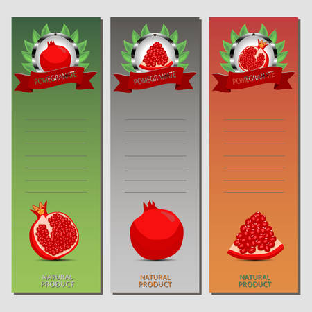 Set of pomegranate icon. Illustration