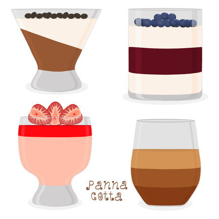 Vector icon illustration logo for jelly red strawberry, blueberry, coffee panna cotta. Jelly pattern consisting of design sweet food pudding pannacotta. Eat fresh fruit jellies Panna Cotta in puddings