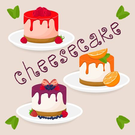 Abstract vector icon illustration logo for slice cheesecake lies on white plate. Cheesecake pattern consisting of cut cheese cake, sweet food. Eat tasty cakes, cheeses cheesecakes with berries, fruits