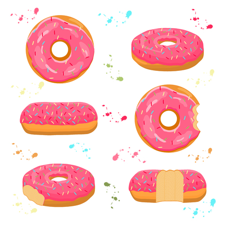 Abstract vector icon illustration logo for glazed sweet donut. Donut pattern consisting of heap of different colored confection doughnuts. Eat tasty cakes donuts, doughnut covered in chocolate cream. Ilustração