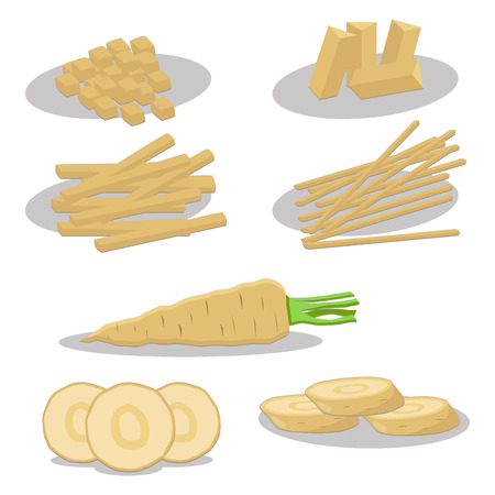 Abstract vector icon illustration icon for whole ripe vegetable yellow parsnip, sliced carrot on background. Parsnip pattern consisting of label vegetables, raw sweet food carrots. Eat fresh parsnips. Illustration