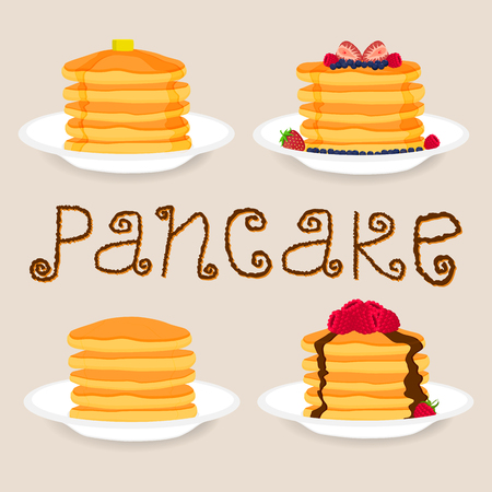 Abstract vector icon illustration logo for yellow pancake. Pancake pattern consisting of home heap homemade hot cakes on plate, crepe sweet food. Eat tasty pancakes with berries, honey,piece of butter
