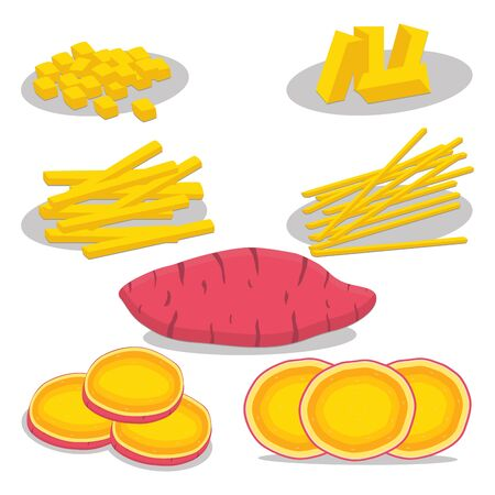 Abstract vector icon illustration icon for whole vegetable sweet potato, sliced baked foods. Potato pattern consisting of ripe boiled stewed food, steamed fries, raw yam. Sweet vegetables potatoes.
