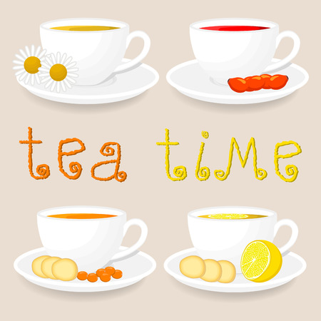 Vector illustration white ceramic cups, teacup on saucer. Teacup pattern consisting of flower tea brewed in porcelain cup. Drink teas from lemon, ginger, rose hip, chamomile, sea buckthorn in teacups.