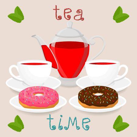Vector illustration logo for white ceramic cup, glass teapot, teacup on saucer, donut.