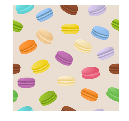 Vector icon illustration logo for pile colorful macarons, baked goods on morning breakfast. Macaron pattern consisting of natural sweet french dessert sandwiches. Eat tasty macaron covered in cream. Illustration