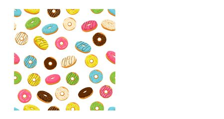 Abstract vector icon illustration for glazed sweet donut. Donut pattern consisting of heap of different colored confection doughnuts. Eat tasty cakes donuts, doughnut covered in chocolate cream.