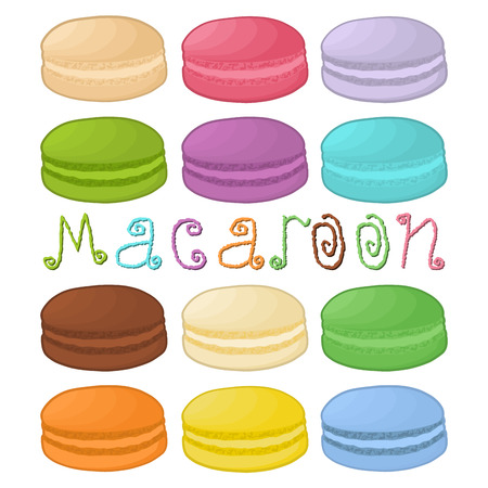 Vector icon illustration logo for pile colorful macaroons, baked goods on morning breakfast. Macaroon pattern consisting of natural sweet french dessert sandwiches. Eat tasty macaroon covered in cream 免版税图像 - 95311821