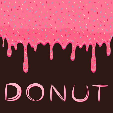 Abstract vector illustration for drops of thick liquid drips down, syrup pouring food from pink donut. Donut texture consisting of dripping liquid, red pourings. Pouring sticky syrups on sweet donuts.